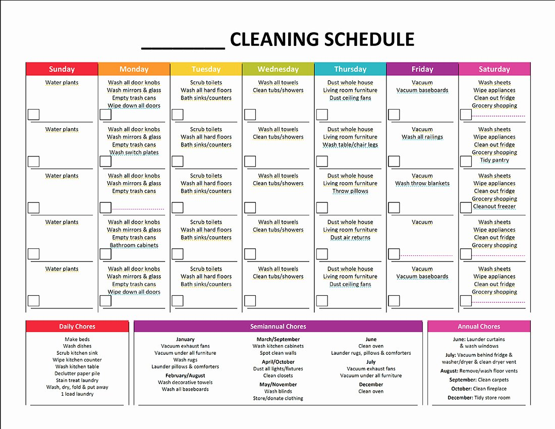 Work Cleaning Schedule Template Best Of Plete Housekeeping Printable Set