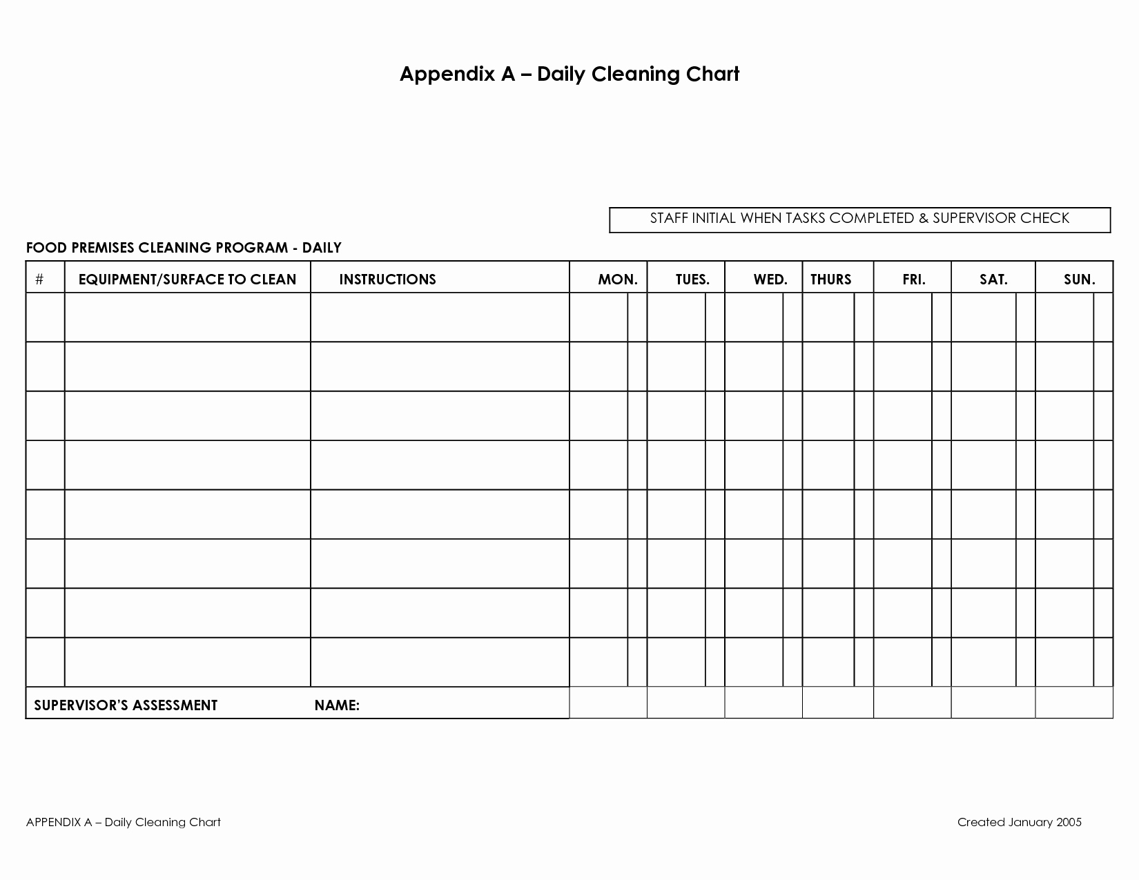 Work Cleaning Schedule Template Fresh Appendix A Daily Cleaning Chart