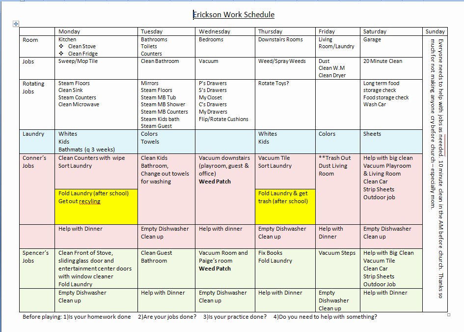 Work Cleaning Schedule Template Inspirational the Benefits Of A House Cleaning Schedule Pulling Curls