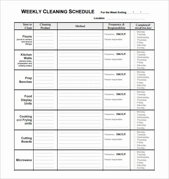 Work Cleaning Schedule Template Lovely Restaurant Cleaning Schedule Template