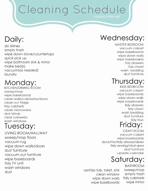 Work Cleaning Schedule Template Lovely Weekly Cleaning Schedule Classy Clutter
