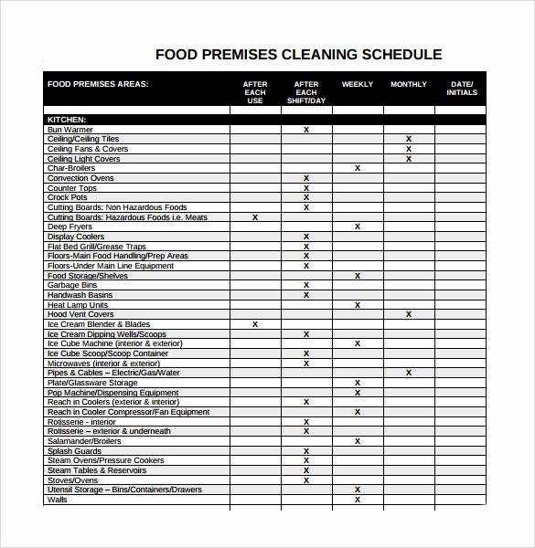 Work Cleaning Schedule Template Luxury Sample Cleaning Schedule 21 Documents In Pdf Word