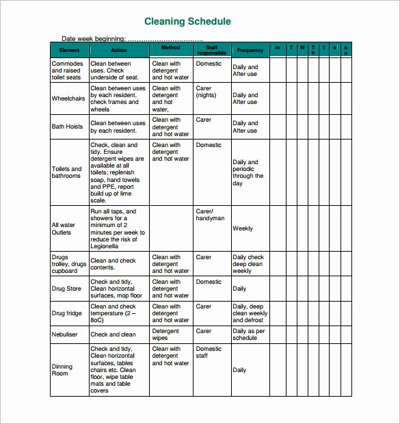 Work Cleaning Schedule Template Unique 45 Cleaning Schedule Templates Pdf Doc Xls