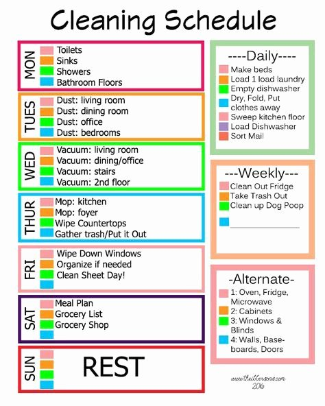 Work Cleaning Schedule Template Unique Easy Cleaning Schedule for Working Moms