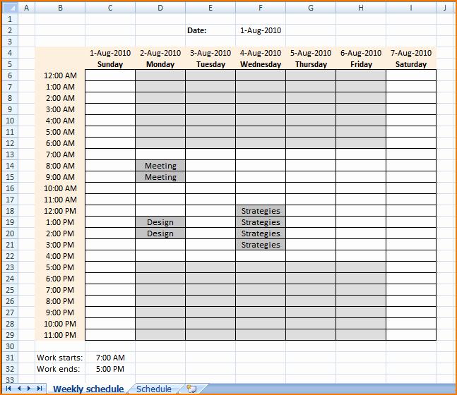 Work Hour Schedule Template Best Of 4 Work Schedule Template Excel