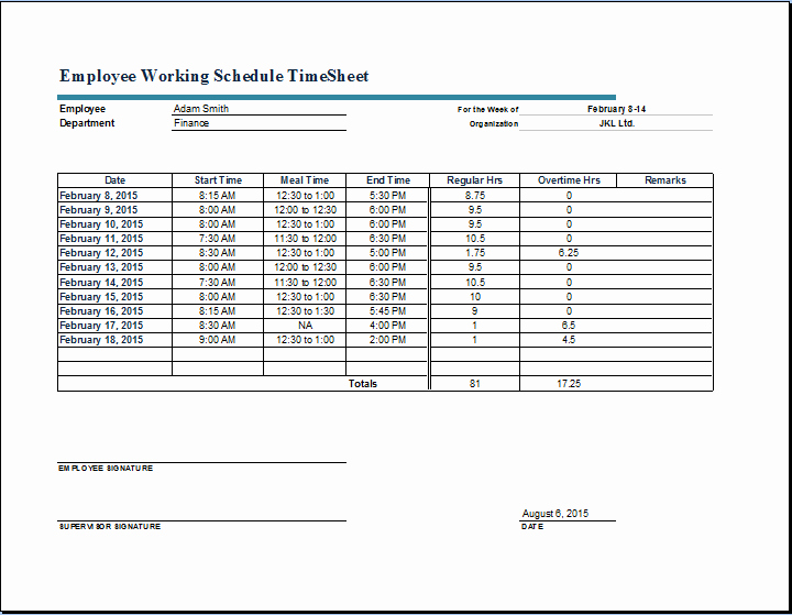 Work Hour Schedule Template Best Of Employee Working Schedule Time Sheet