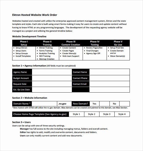 Work order form Template Free Awesome Free 10 Work order Samples In Pdf Word Excel