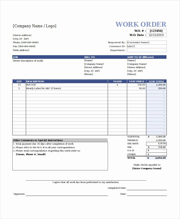 Work order form Template Free Elegant Excel Work order Template 15 Free Excel Document