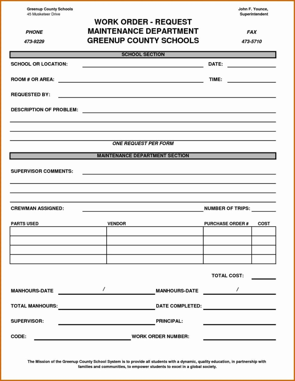 Work order form Template Free Elegant Maintenance Work order form Template Sampletemplatess