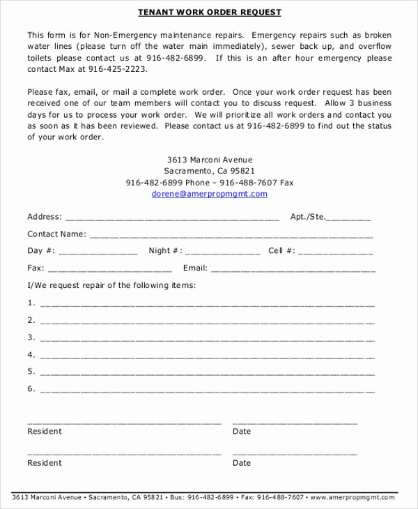 Work Request form Template Awesome Free Sample Work order form 9 Examples In Word Pdf