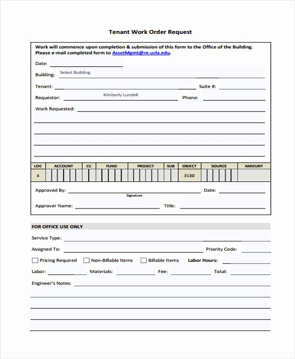 Work Request form Template Best Of Free 22 Work order form In Templates Pdf
