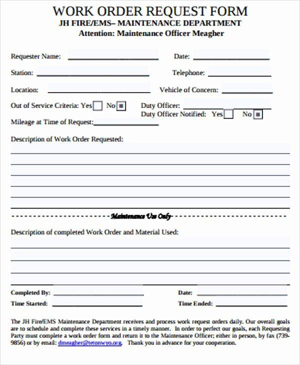 Work Request form Template Elegant Sample Work order form 10 Free Sample Example format