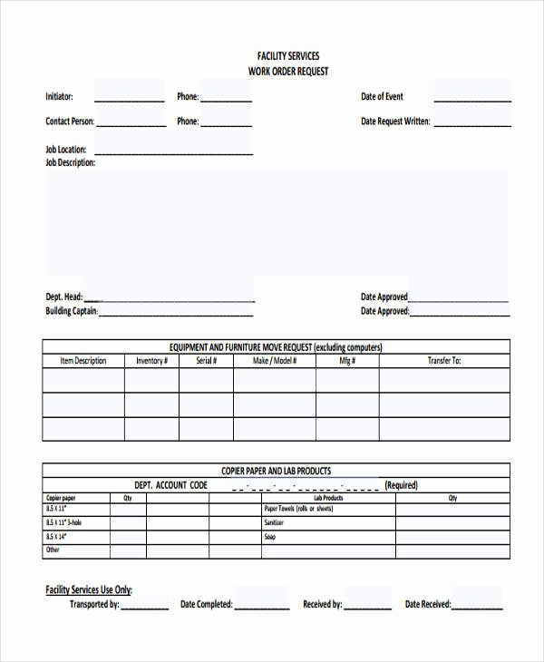 Work Request form Template Lovely Free 22 Work order form In Templates Pdf