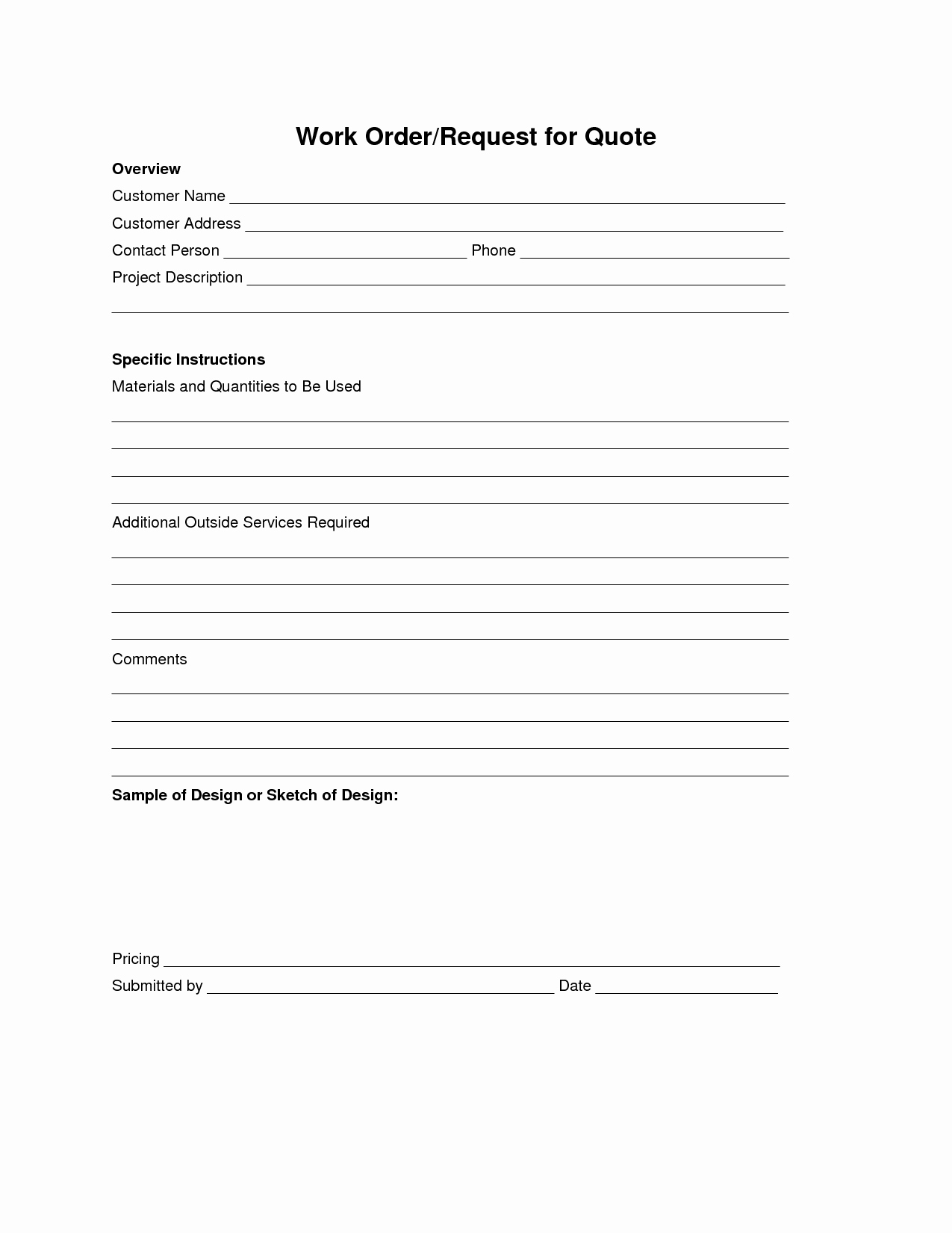 Work Request form Template New Best S Of Job Work order form Template Work order
