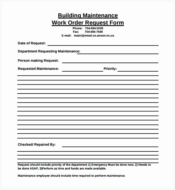 Work Request form Template New Maintenance Work order Template