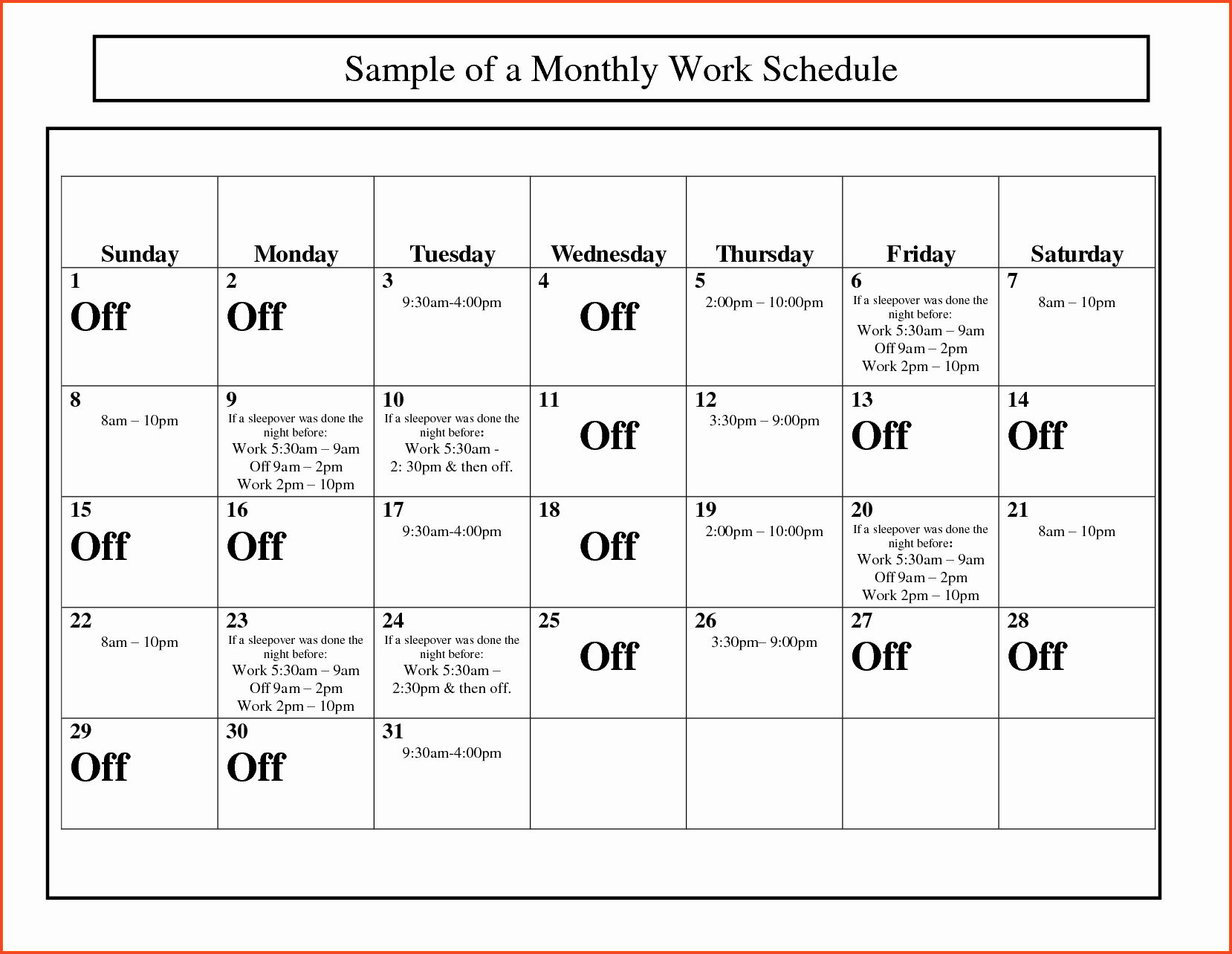 Work Schedule Calendar Template Awesome Monthly Work Schedule Template