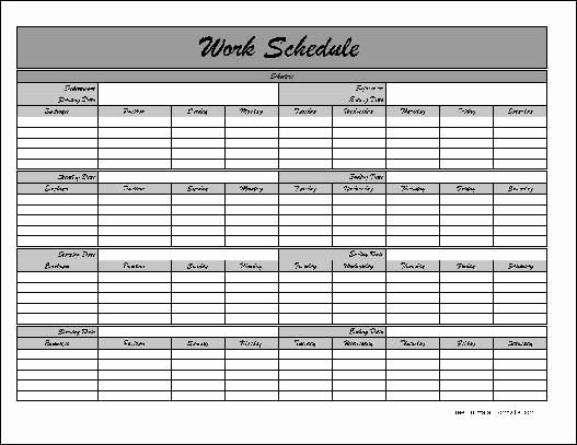 Work Schedule Calendar Template Elegant Free Monthly Work Schedule Template Job