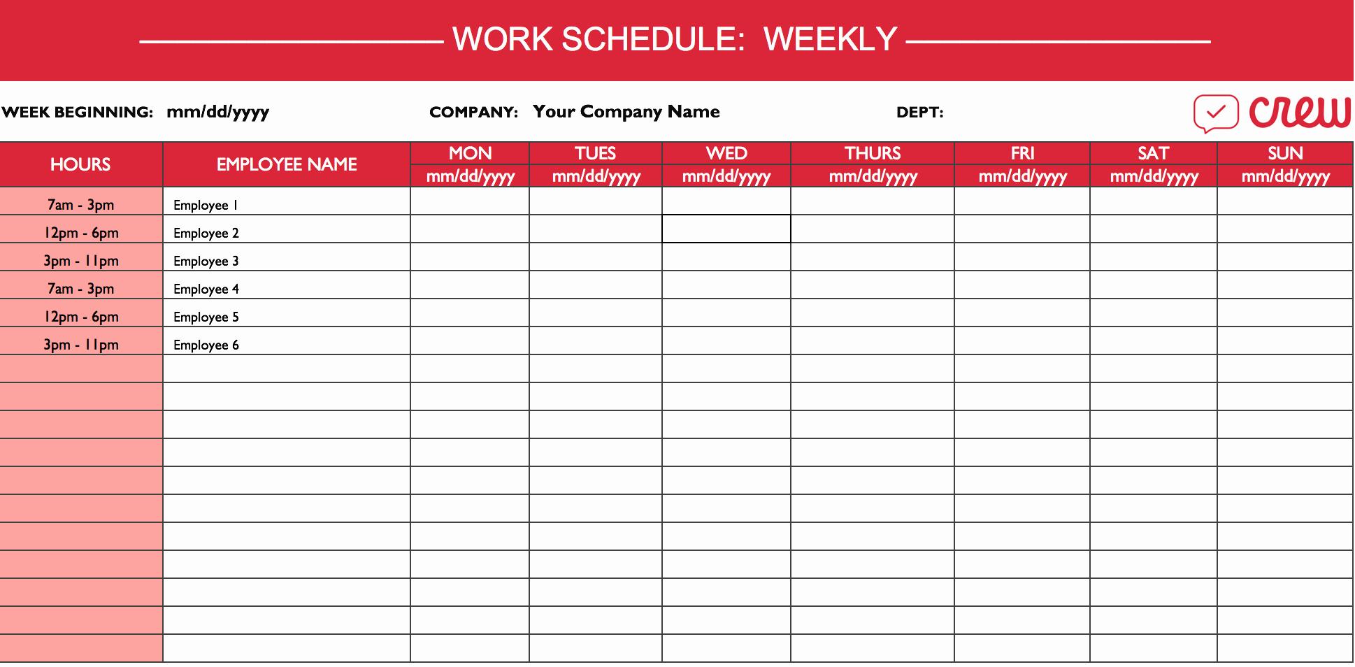 Work Schedule Template Excel New Weekly Work Schedule Template I Crew