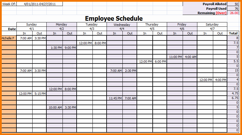 Work Schedule Template Free Best Of Monthly Work Schedule Template