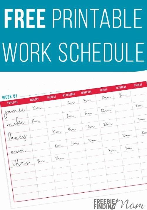 Work Schedule Template Free Luxury Free Printable Work Schedule