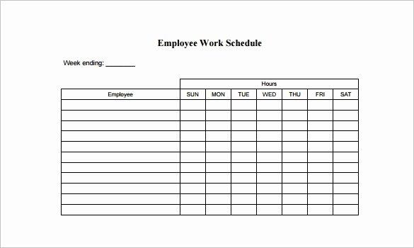 Work Schedule Template Free New Employee Work Schedule Template