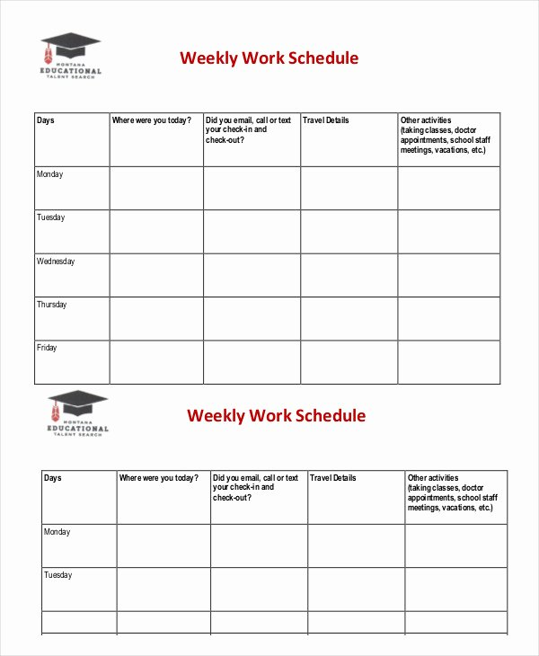 Work Schedule Template Weekly Fresh Weekly Schedule Template 10 Free Word Excel Pdf