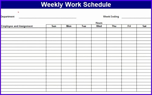 Work Schedule Template Weekly Inspirational 6 Excel Template Weekly Schedule Exceltemplates
