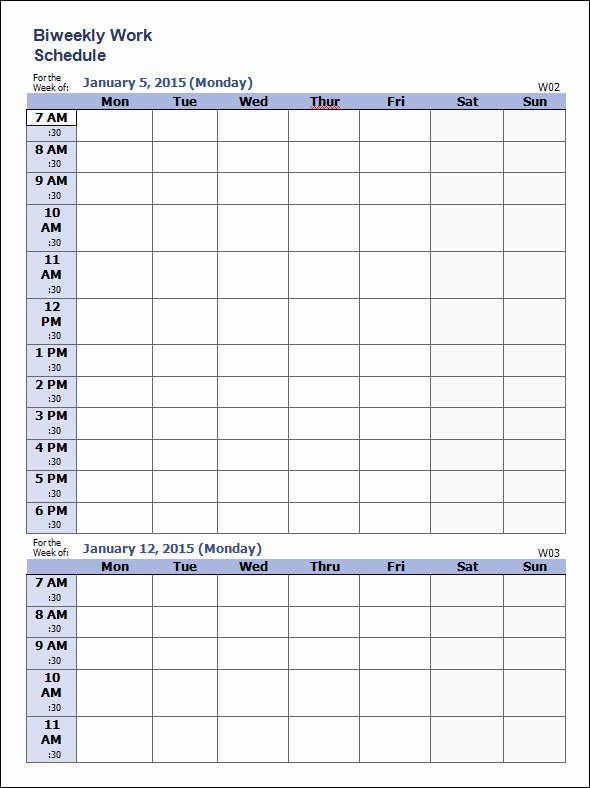 Work Schedule Template Weekly Inspirational Work Schedule Template