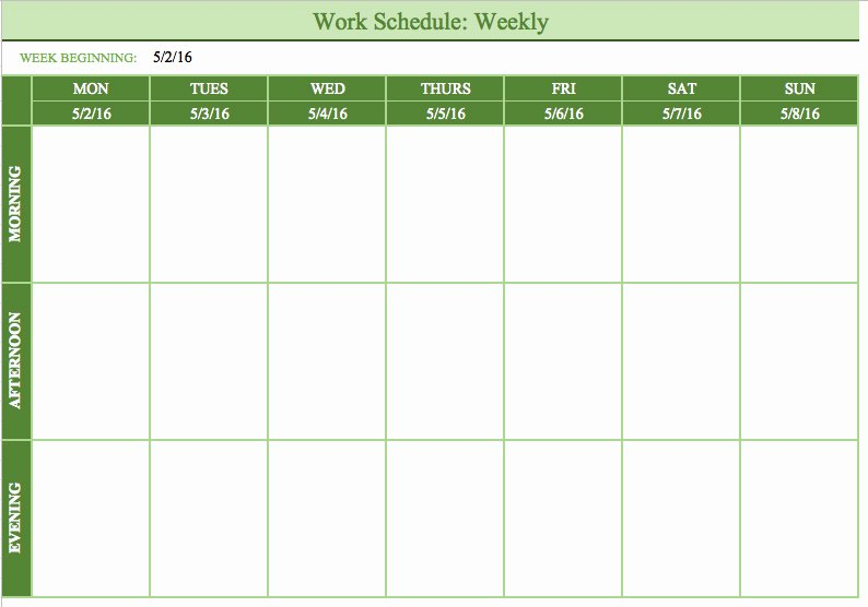 Work Schedule Template Weekly Lovely Free Work Schedule Template