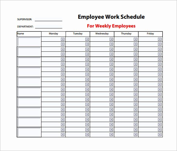 Work Schedule Template Weekly Luxury Weekly Work Schedule Template Pdf