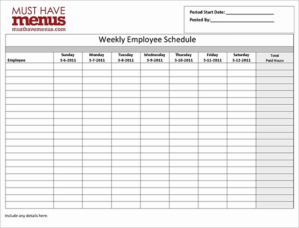 Work Schedule Template Weekly Unique Employee Work Schedule Template 17 Free Word Excel