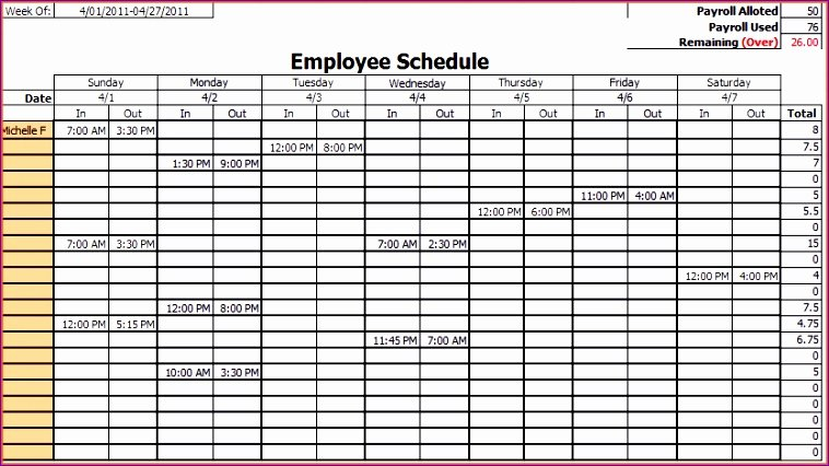 Work Week Schedule Template Beautiful 8 Employee Work Schedule Template Excel Exceltemplates