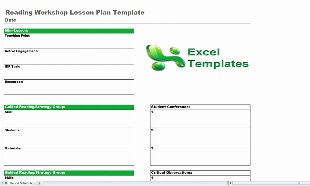 Workshop Lesson Plan Template Luxury Reading Lesson Plan Template
