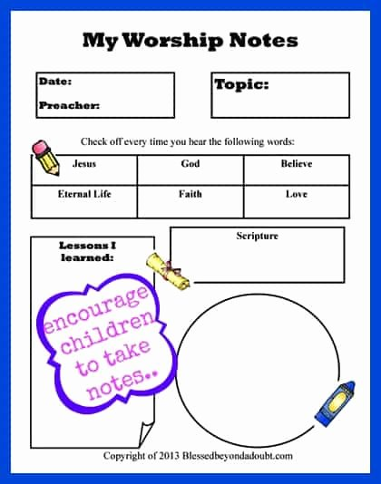 Worship Service Planning Template Inspirational Free Children S Worship Notes Printable Life Of A