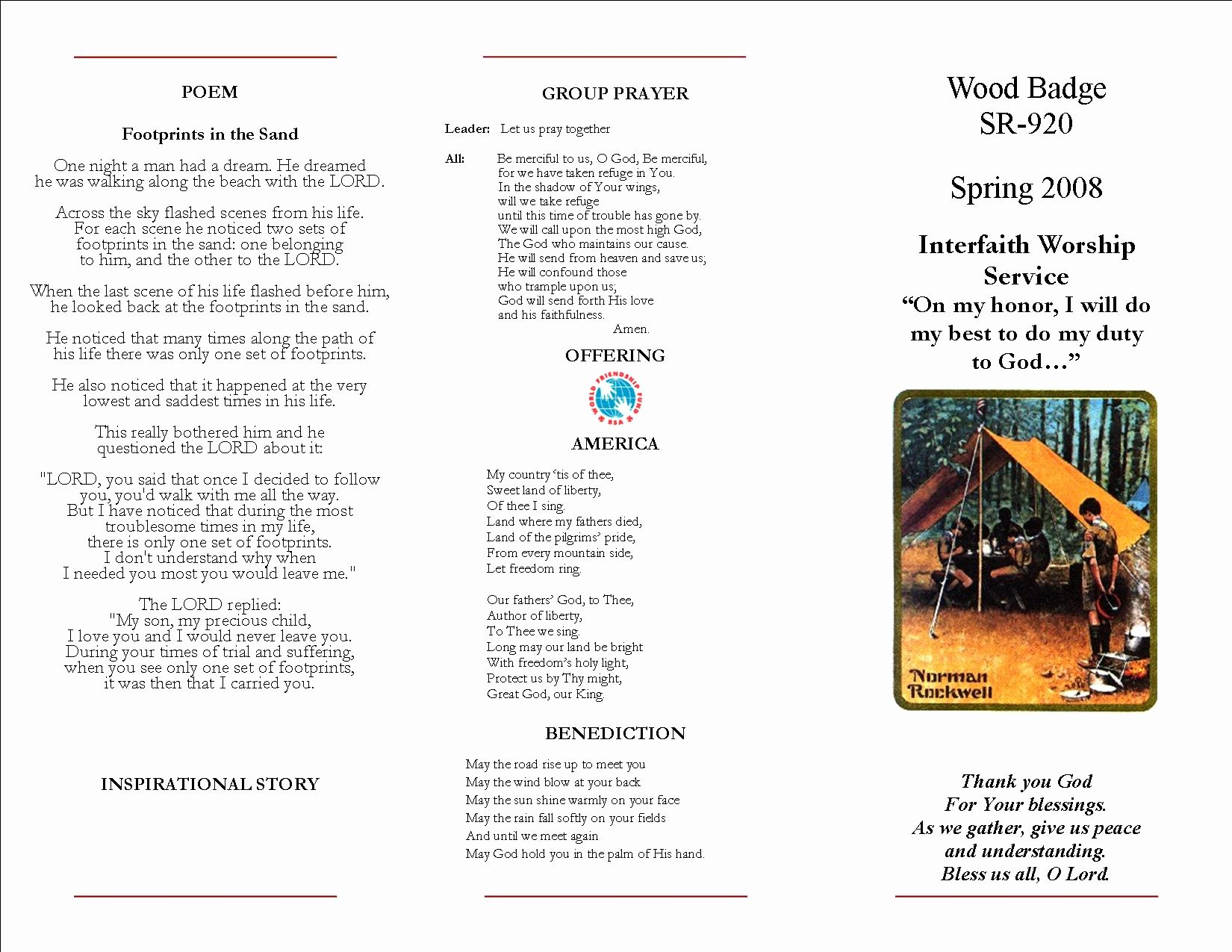 Worship Service Planning Template New Sample Boy Scout Interfaith Worship Service