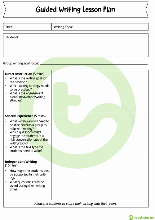 Write Lesson Plan Template Lovely Guided Writing Lesson Plan Template Teaching Resource