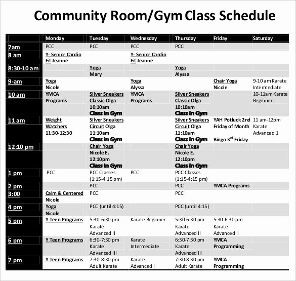 Yoga Class Plan Template Awesome Class Schedule Template 36 Free Word Excel Documents
