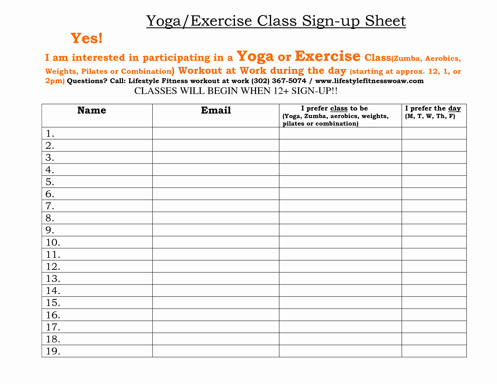 Yoga Class Plan Template Lovely Fitness Sign Up Sheet