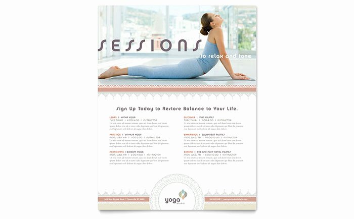 Yoga Class Planning Template Unique Pilates & Yoga Class Flyer Template Word & Publisher