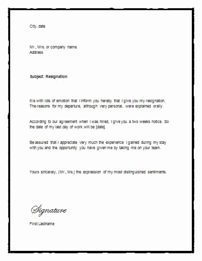 2 Week Notice Template Word Awesome 5 Free Two Weeks Notice Letter Templates Word Excel