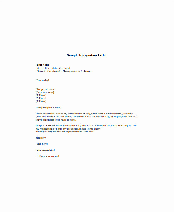 2 Week Notice Template Word New 12 Standard Resignation Letter Examples Pdf Word