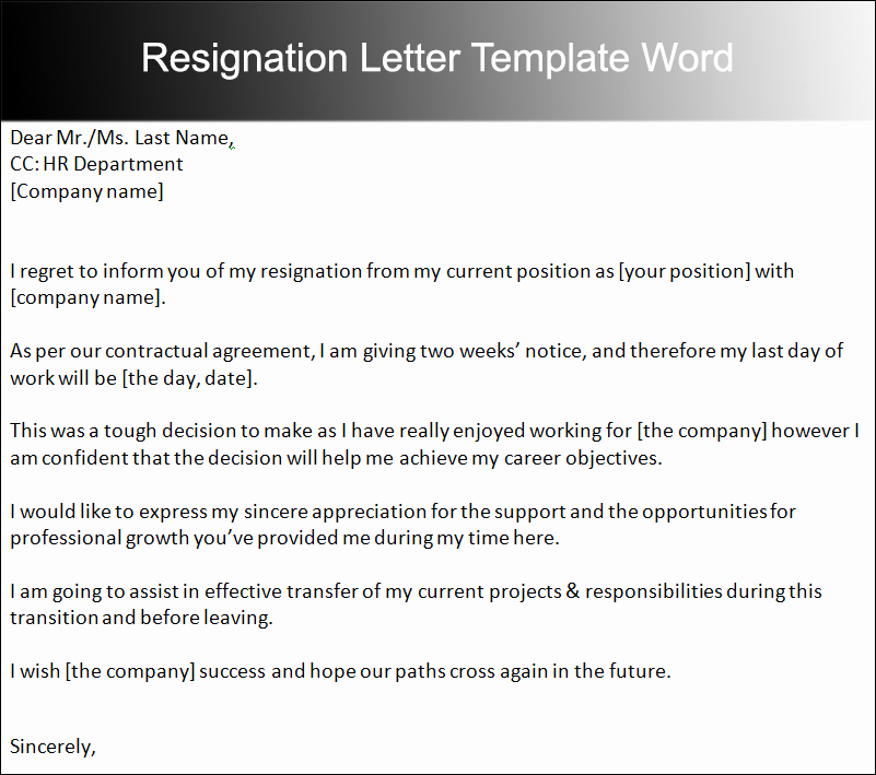 2 Week Notice Template Word New 40 Two Weeks Notice Letter Templates Free Pdf formats