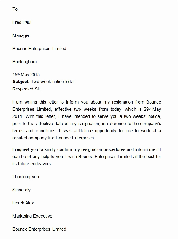 2 Week Notice Template Word New Two Weeks Notice Letter 12 Download Free Documents In Word