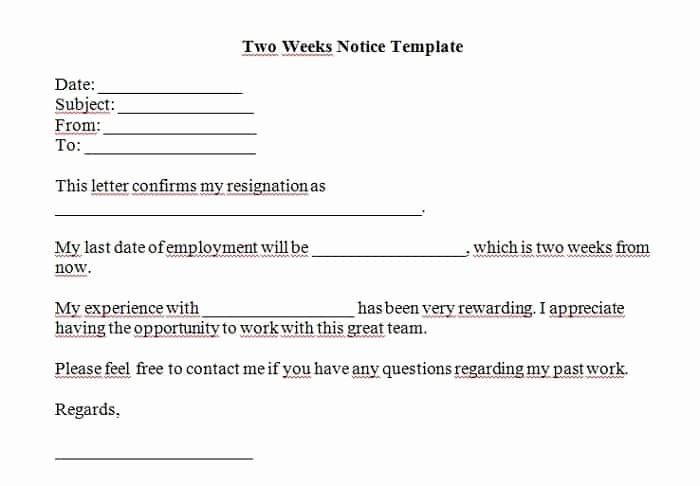 2 Weeks Notice Email Template Awesome 5 Free Two Weeks Notice Letter Templates Word Excel