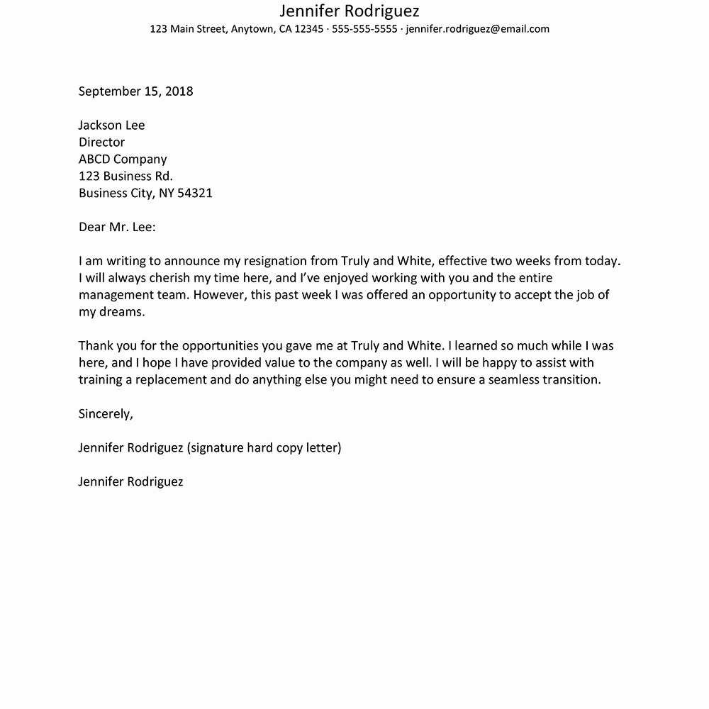 2 Weeks Notice Email Template Beautiful No Notice Resignation Letter Example and Writing Tips