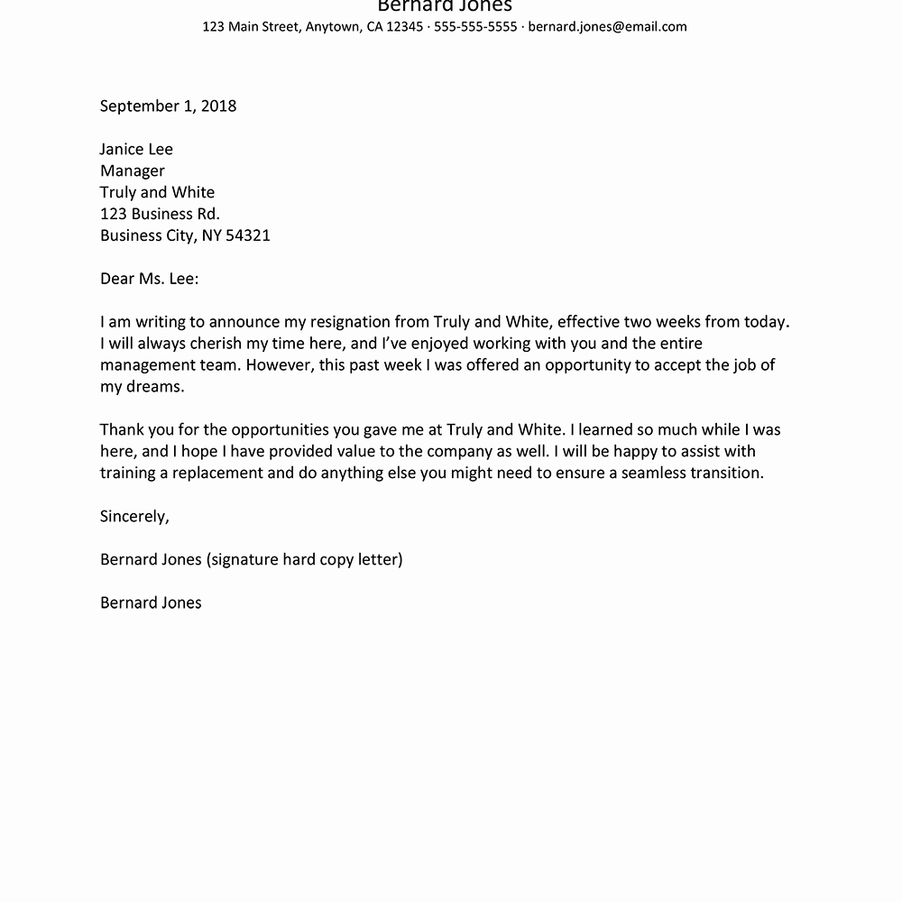 2 Weeks Notice Email Template Beautiful Resignation Notice Letters and Email Examples