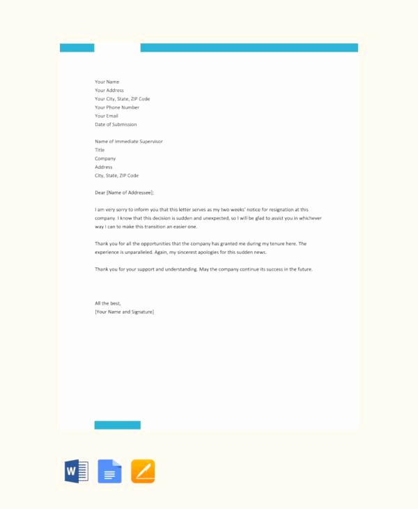 2 Weeks Notice Email Template New 11 Resignation Letters No Notice Pdf Word