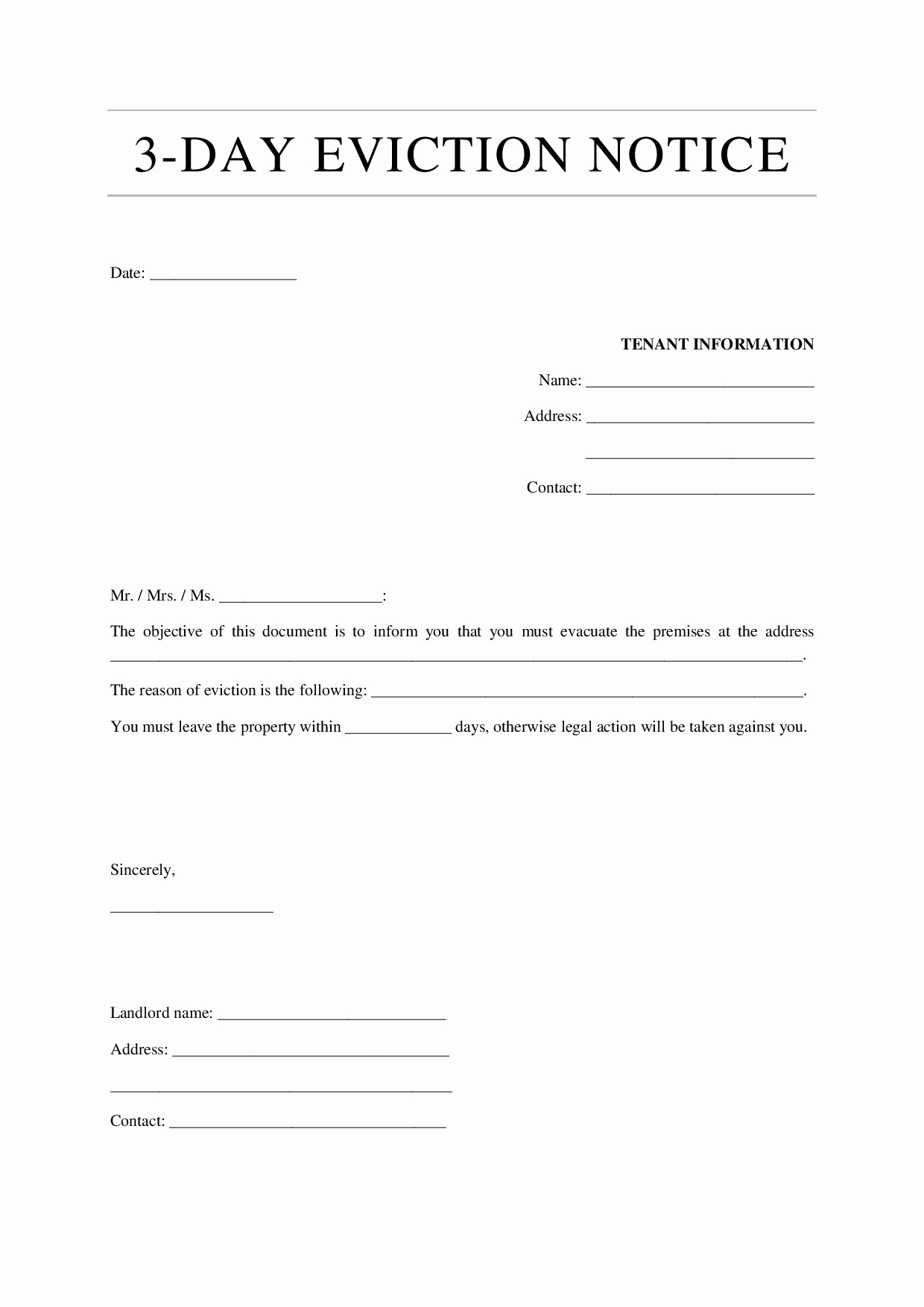 3 Day Notice Template Beautiful 12 Eviction Notice Template Examples