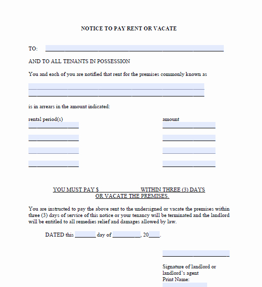 3 Day Notice Template Lovely New York 3 Day Notice Evictme