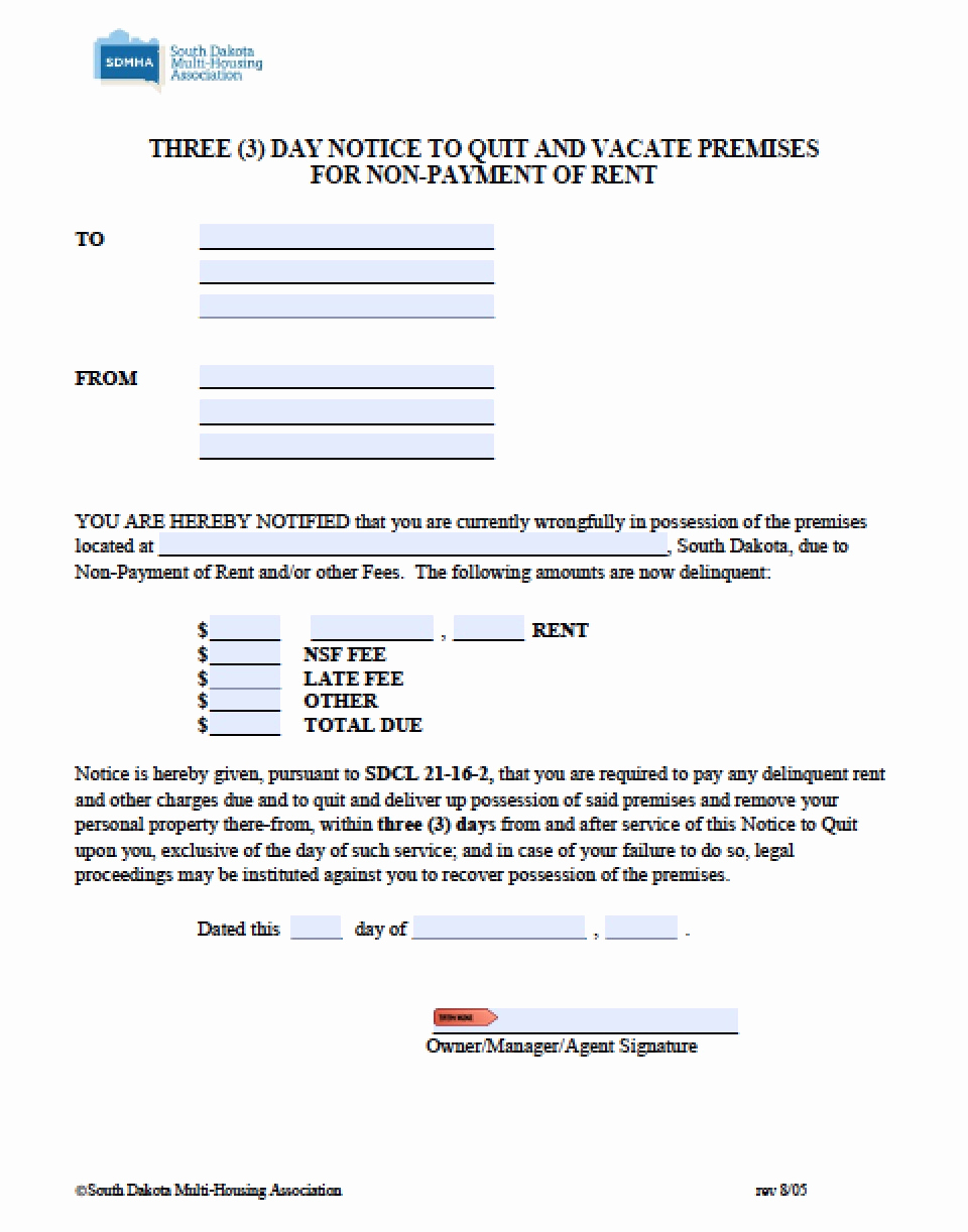 3 Day Notice Template Unique Free south Dakota Three 3 Day Notice to Quit
